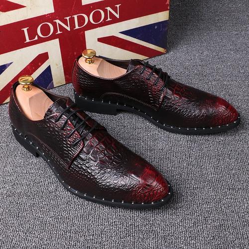 Crocodile pattern Men's Shoes Pointed Toe Formal Shoes 6cm Hidden Heels Genuine Leather Dress Shoes Men Oxfords Size 37-44