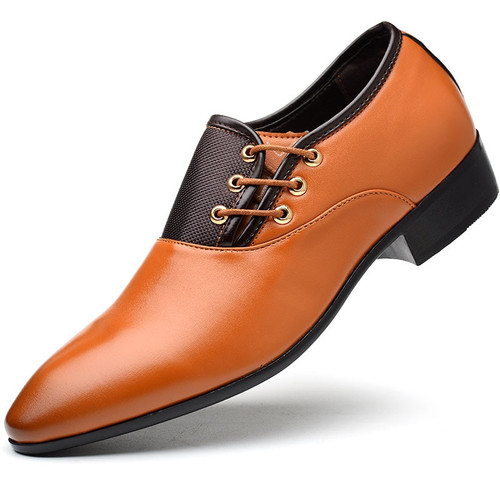 Business Men PU Leather Shoes Formal Casual Flat Pointed Toe Lace-Up Shoes WML99