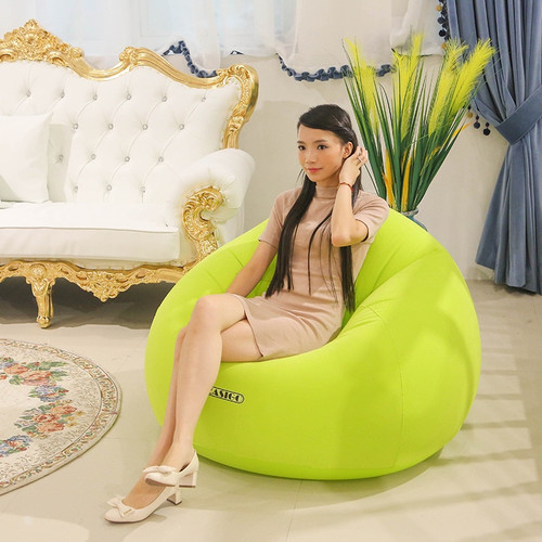 Inflatable Air Sofa for Baby Adults Flocking PVC Lazy Sofa in Living Room Office Removable Outdoor Bean Bag Pouf for Camping