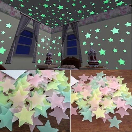 Kids Bedroom Fluorescent Glow In The Dark Stars Glow Wall Stickers Stars Luminous luminous glow sticker color 8.13