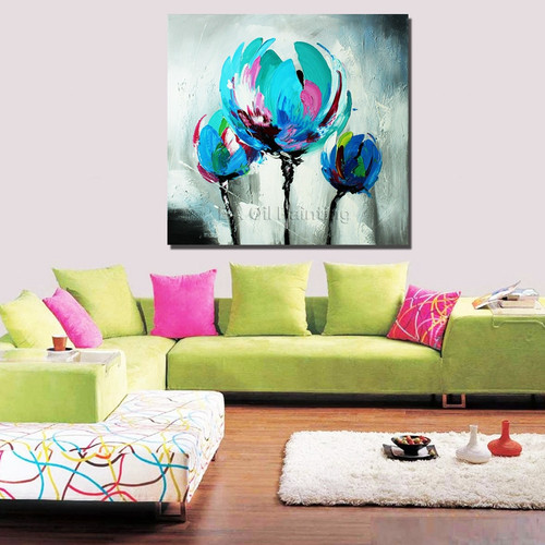 Thick Textured Tulip Palette Knife Oil Painting 100% Handmade No Frame Knife Oil Painting On Canvas Wall Art Decoration