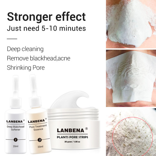 LANBENA Plants Blackhead Remover Mask+Pore Strip Essence Black Mask Peel Off Mask Peeling Acne Treatment Nose Mask Skin Care
