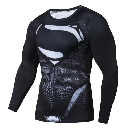 New Marvel Superman Black Men T Shirt 3D Print Compression Top T-Shirt Men Long Raglan Sleeve Fitness Cosplay Costume Slim Fit