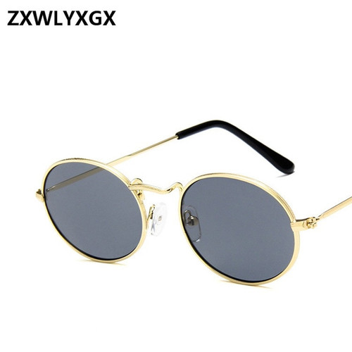 2018 New Fashion Small Metal Frame Steampunk Sunglasses Men Women Vintage Oval Sun Glasses Female Eyewear Oculos De Sol