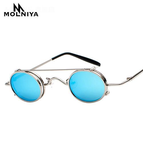 MOLNIYA 2018 Design Small Oval Sunglasses Steampunk Sun Glasses Women Mirror Luxe 80s Round Sunglasses Mens Flat Lens Vintage UV