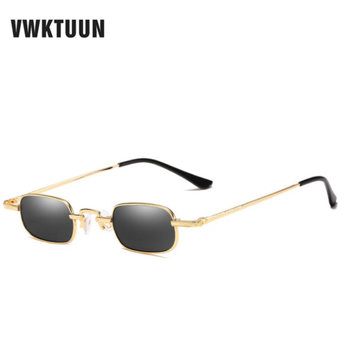 VWKTUUN Metal Sunglasses Men Women Fashion Glasses Small Retro Vintage Sunglasses UV400 Eyewear Sport Hip Hop Steampunk Glasses