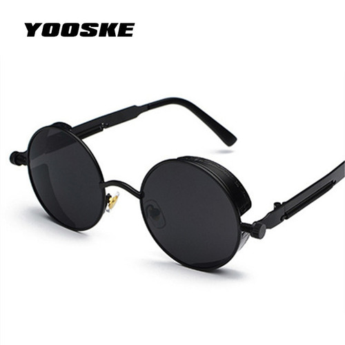 YOOSKE Round Steampunk Sunglasses Men Women Luxury Brand Eyewear Mirror Punk Sun Glasses Vintage Female Male Eyeglasses Punk