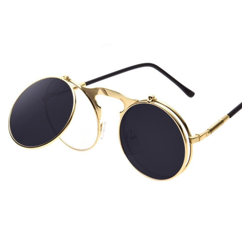 men vintage round steampunk sunglasses men small round flip up sunglasses women retro metal silver cheap uv400