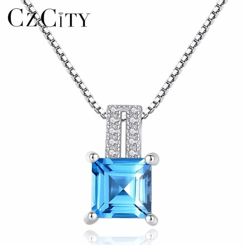 CZCITY 925 Sterling Silver Cushion-Cut Genuine Sky Blue Topaz Pendant Necklace With 40+5cm Box Chain Fine Silver Jewelry Women