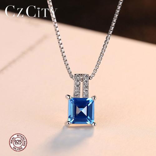 CZCITY 925 Sterling Silver Cushion-Cut Genuine Sky Blue Topaz Pendant Necklace With 40+5cm Box Chain Fine Silver Jewelry Women