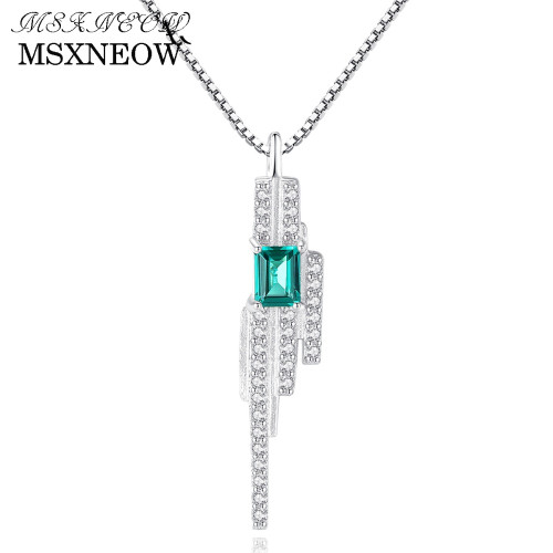 MSXNEOW Romantic Women Pendant Charms Chain Necklace Emerald Blue-Green Dinmond Stone with Small CZ Crystal around S925 Silver