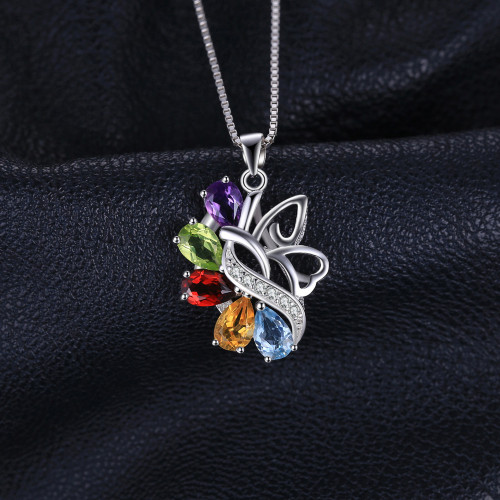 JewelryPalace Butterfly 2.4ct Amethysts Garnets Peridots Citrines Blue Topazs 925 Sterling silver Pendant Necklace 45cm Chain