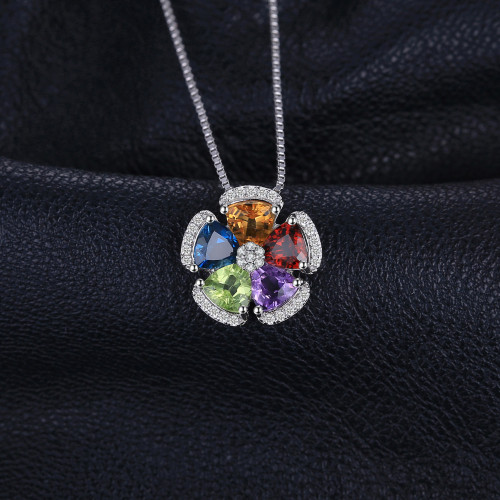 JewelryPalace 2.6ct Natural Blue Topaz Amethyst Citrine Garnet Peridot Necklaces & Pendants 925 Sterling Silver Box Chain 45cm
