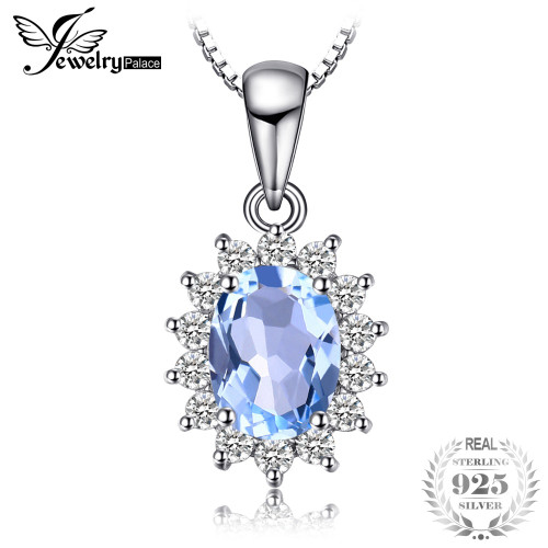 JewelryPalace Princess Diana William Kate 2.3ct Natural Blue Topazs 925 Sterling Silver Halo Pendant Necklace 45cm Chain