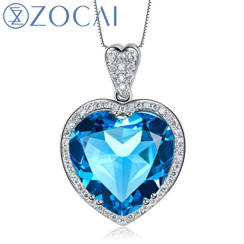 ZOCAI ZODIAC GEM 7.0 CT TOPAZ 0.21CT DIAMOND 9K WHITE GOLD BLUE HEART PENDANT + 925 STERLING SILVER CHAIN NECKLACE D02493