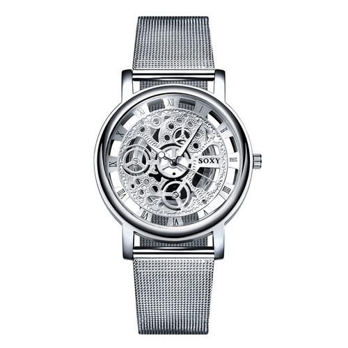 2017 New Hot Sell Brand SOXY Silver Wrist Watch Simple Style Mesh Belt Women Quartz Watches Fashion Hollow Designer Ladies Watch