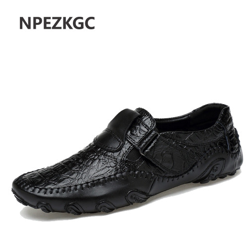 NPEZKGC spring summer men loafers slip-on casual leather boats platform Oxfords shoes driving shoes breathable moccasins