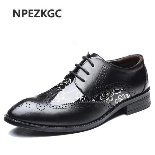 NPEZKGC New Oxford Shoes For Men Dress Shoes Genuine Leather Office Shoes Men Flats Zapatos Hombre Mens Oxfords Plus size 38-48