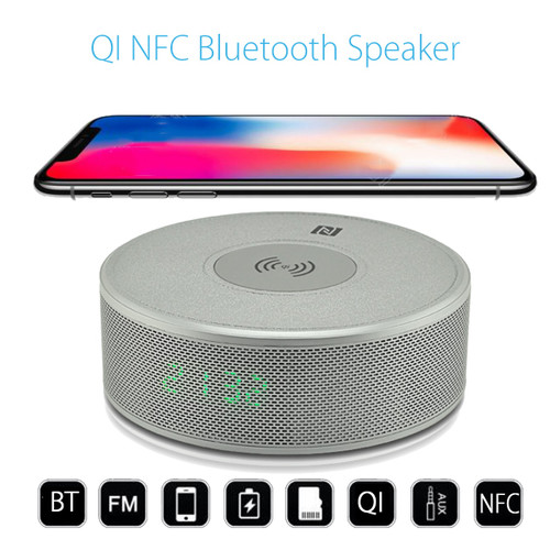 Multifunction Qi Wireless NFC bluetooth Speaker Portable Radio Loudspeaker Mobile Phone Charger Charging Pad Docking Station