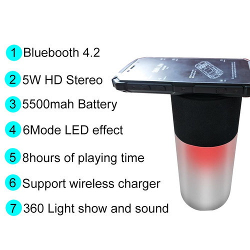Twinbuys A6 Wireless Portable Bluetooth Speaker LED waterproof 360 Stereo soundbar mp3 music box HI-FI for phone wireless charge