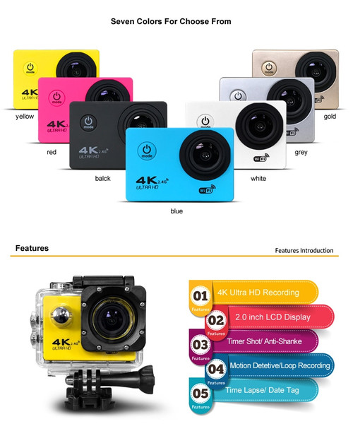 dhl SJ7000R Waterproof Full HD 1080P Action Camera SJ7000Wifi For Gopro Hero Action Sports Camera LTPS LED 150 Degree SJ7000wifi