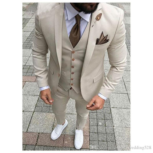 Linyixun Latest Coat Pant Beige Men Suit Prom Tuxedo Slim Fit 3 Piece Groom Style mens Suits Custom Blazer