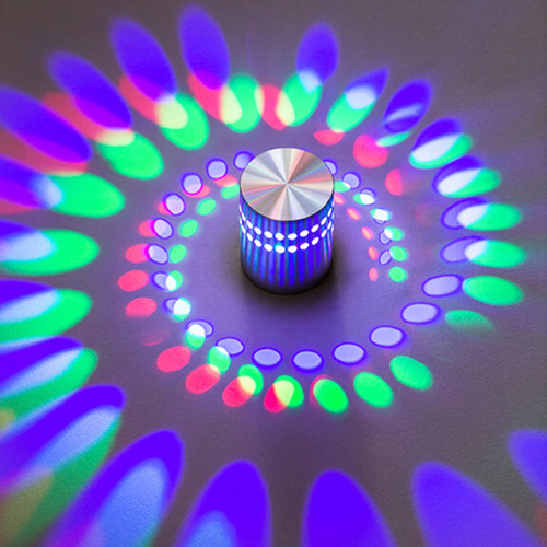 Modern 3W RGB LED Wall Lights AC85-265V Spiral Sconce Ceiling Lighting Fixtures fit for Indoor Home Aisle Foyer Bedroom Bedsides