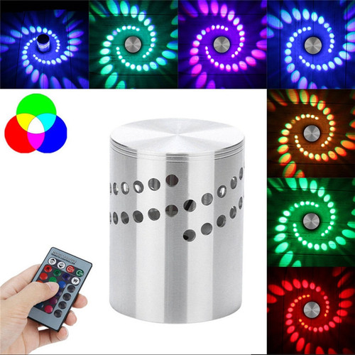 LED Wall Light RGB Spiral Hole Wall Lamp Surface Install Remote LED Light Luminaire Lighting For Home Enfeites De Natal Nov#1