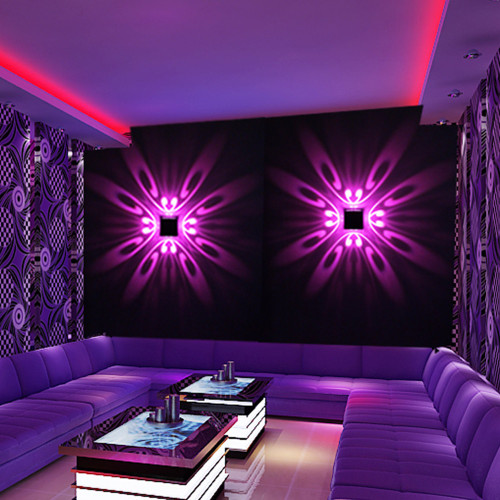 Wall Mounted LED Wall Lamp Indoor LED Projection Colorful Lighting Mural Luminaire Background Wall Light for Home Hotel KTV Bar