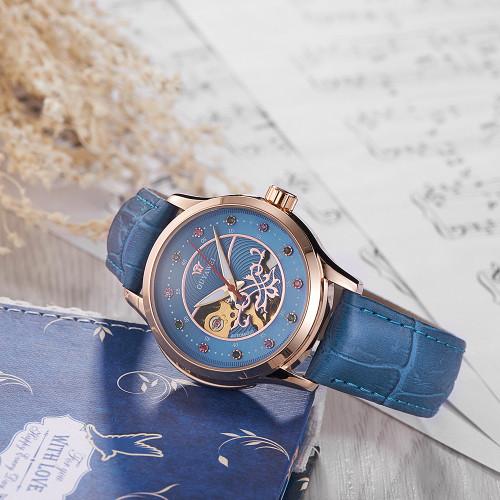 OUYAWEI 2017 Women's Watch Leather Strap Diamond Dial Skeleton Ladies Wristwatch Automatic Mechanical Relogio Feminino