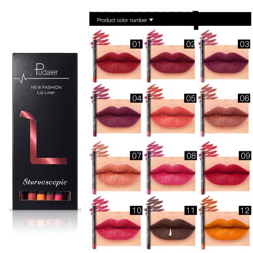 Pudaier 12 Colors/Set Stylish Black Color Sexy Matte Stick Waterproof Lasting Lip Liner Pencil Set Beauty Makeup Cosmetic
