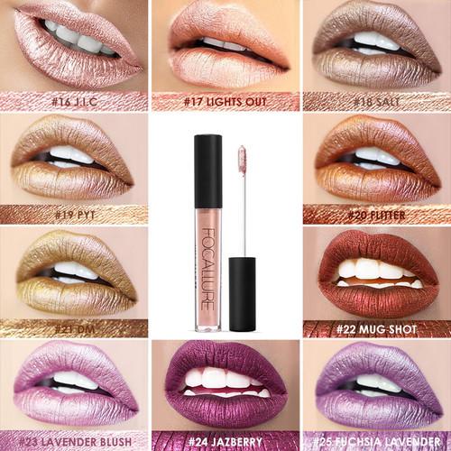 FOCALLURE Soft Matte Lip Cream Lip Gloss Chameleon Matte Lipstick Shimmer Glitter Lip Gloss 6ML Lipgloss Kit