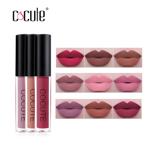 Cocute 3Pcs/set Sexy Lipgloss Long-lasting Lip Colors Makeup Waterproof Tint Lip Gloss Matte Liquid Lipstick for Gift