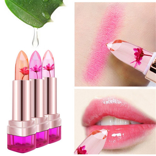 2016 Temperature Change Color Lip Balm 3 Color Waterproof Long-lasting Sweet Transparent Jelly Flower Pink Moisturizer Lipstick