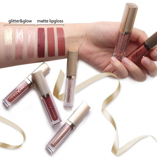 MIXDAIR 6pcs Lip Gloss Box Set Matte Liquid Lipstick Kit Long Lasting Waterproof With Glitter Lipgloss As Eyeshadow Highlighter