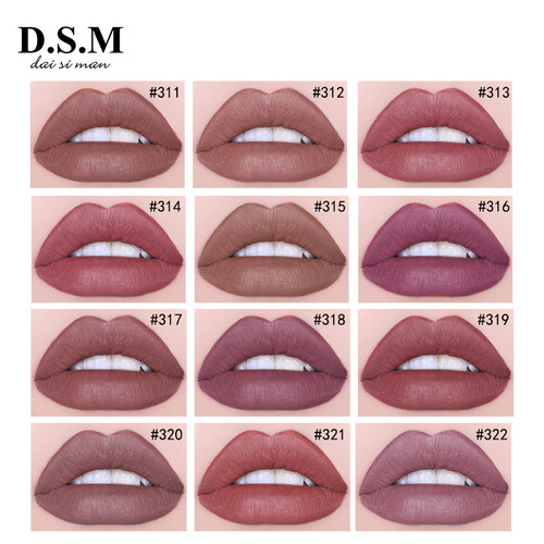 D.S.M Popular Sexy Matte Lip Gloss Waterproof Long-lasting Lips Tint Makeup Natural Color Lipgloss Makeup Liquid Lipstick