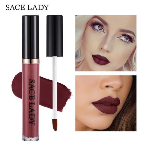 SACE LADY Matte Waterproof Lipstick 22 Colors Liquid Lip Gloss Tint Long-lasting Makeup Stick Nuke Paint Make Up Purple Pigment