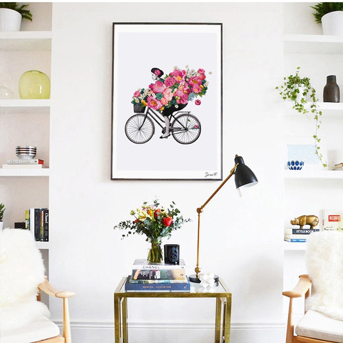Nordic Style Canvas Art Print Watercolor Paintings, Posters and Prints Flower Girl Wall Pictures for Home Decoration, Wall Decorv
