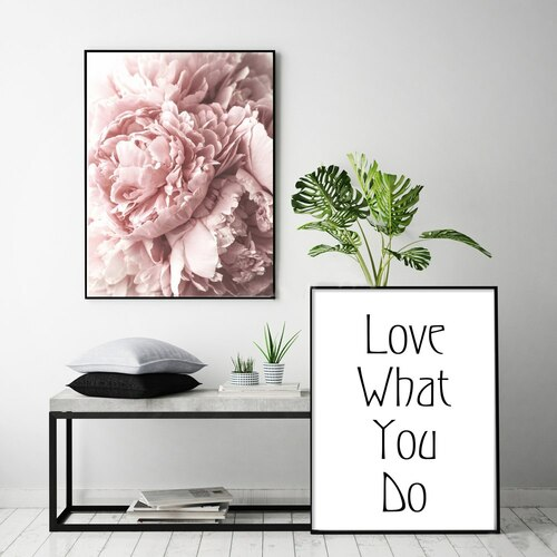 Decoration Pink Peonies Letter Nordic Wall Art Canvas Poster and Print Flower Canvas Painting Picture for Living Room Home Decor