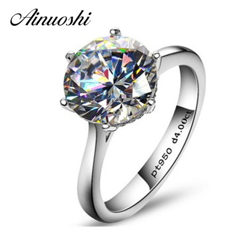 AINOUSHI Luxury Classic Solitaire 6 Claws 4 Carat NSCD Ring for Women 925 Sterling Silver Engagement Bijoux Femme Wedding Ring