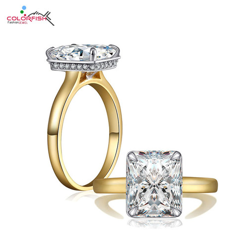 COLORFISH Luxury 4 Carat Princess Cut Sona Solitaire Engagement Ring Gold Color Tow Tone 925 Sterling Silver Ring For Women