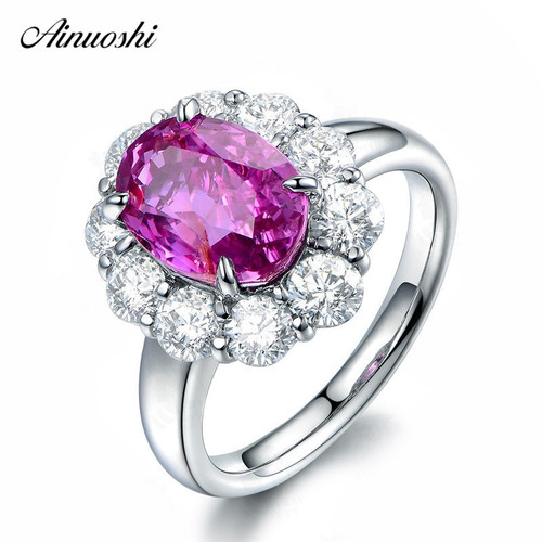 AINUOSHI 4 Carats Oval Cut Red Sona Halo Bridal Rings 925 Sterling Silver Engagement Anniversary Rings Jewelry Party Lady Gifts