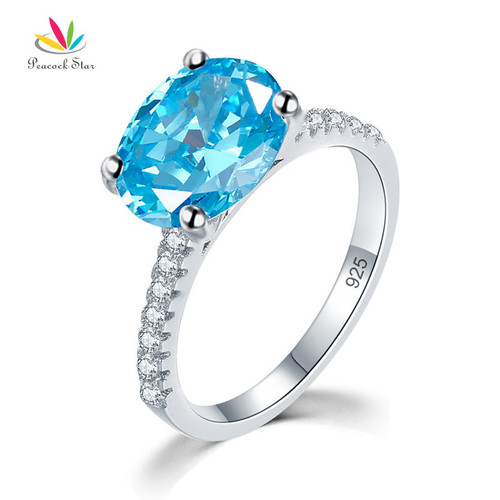 Peacock Star Solid 925 Sterling Silver 4 Carat Anniversary Ring Blue Oval Party Luxury Jewelry CFR8303