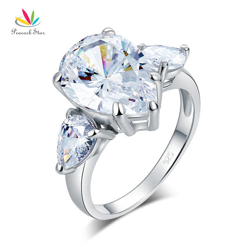 Peacock Star Pear Cut 4 Carat Solid 925 Sterling Silver Ring Three-Stone Pageant Luxury Jewelry CFR8308