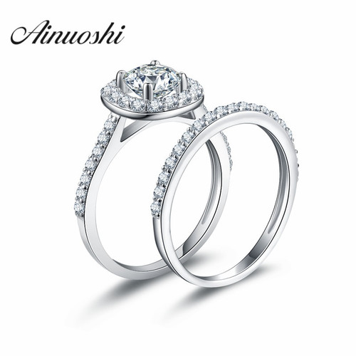AINOUSHI 925 Sterling Silver 4 Prongs Engagement Bridal Ring Sets Halo 1 Carat Round Cut Wedding Anniversary juegos de anillos