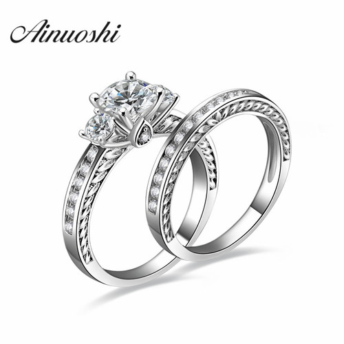 AINOUSHI Fashion 925 Sterling Silver Lover Engagement Bridal Ring Sets 1 Carat 4 Prongs Round Cut Wedding Anniversary Ring Sets