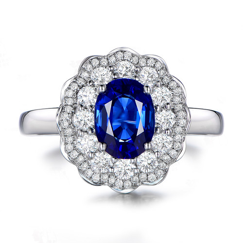 AINUOSHI 1.25 Carat Oval Cut Blue Sona 4 Prongs Bridal Halo Rings 925 Sterling Silver Flower Wedding Engagement Silver Ring Gift