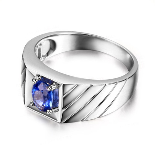 AINUOSHI 1.25 Carat Oval Cut Blue Sona Solitire Rings 925 Sterling Silver 4 Prongs Women Wedding Engagement Lover Rings Gifts