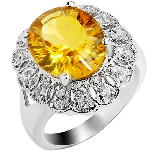 4 carats Natural Citrine Ring 925 Sterling Silver Yellow Crystal Woman Fashion Fine Queen Sunflower Birthstone Gift sr0125c