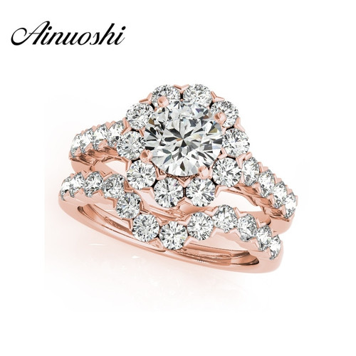 AINUOSHI 925 Sterling Silver Women Rose Gold Color 4 Prongs Wedding Bridal Ring Sets Sona 1 Carat Round Cut Engagement Ring Sets